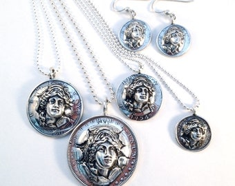 Lady Push Out Pendant, Key Ring or Earrings Made from Silver Vintage American Coin Dime Quarter Half Dollar