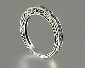 CARYATID wedding band in sterling silver with London Blue Topaz