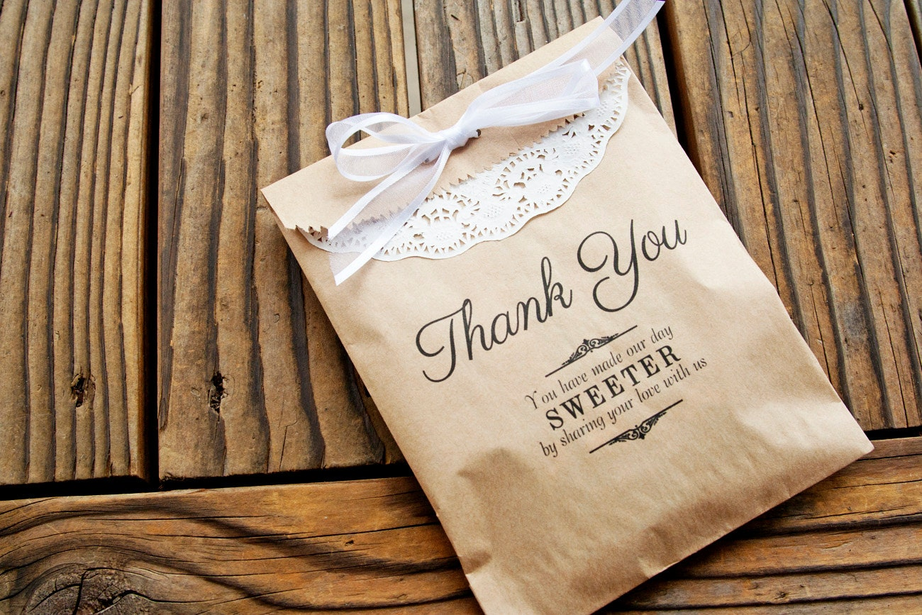 favor bags wedding favor kraft bags thank you message by mavora