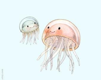 ABC animals, Jellyfish print, Jellyfish painting, Jellyfish illustration, alphabet animals, Nursery wall art,  J is for Jellyfish