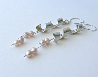 Long Silver Spiral and Pearl Dangle Earrings