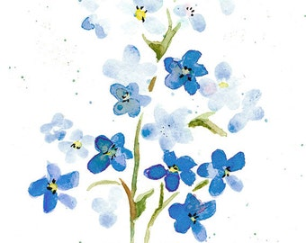 Forget Me Nots Print from Original Watercolor, Pale Blue Flower Print For Home Decor, Forget Me Nots Flower Wall Art Print, Light Blue Tones