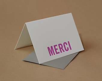 Letterpress Thank You Cards : Fuchsia Modern Block Merci (French Thank You) Notes - box of 5 small folded cards w stone gray envelopes