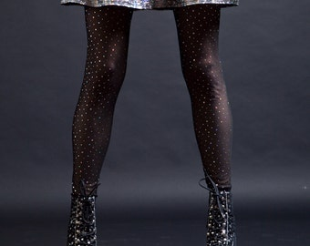 Black Sheer Mesh with Silver Holographic Dot Leggings