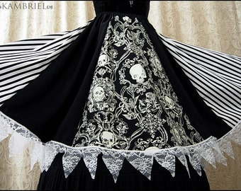 Cirque Macabre Skirt by Kambriel - Black and White Striped Midi Skirt with Baroque Skulls and Lace - Brand New & Ready to Ship!