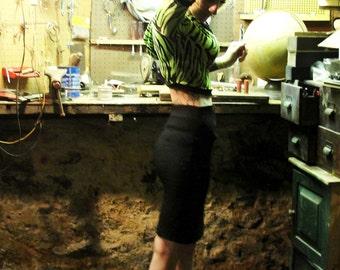 Bettie Blues Neon Green Zebra Tunic Shirt Punk Rock Shrug DIY