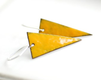 Geometric Jewelry, Triangle Earrings, Mustard Yellow Earrings, Enameled Copper Earrings, Geometric Earrings, Rustic Earrings, Geo, Dangle