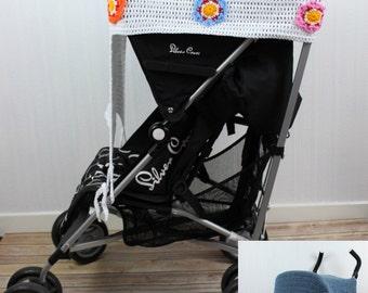 CROCHET PATTERN For  Stroller Sunshade  & Bear, Skull, Flower Appliqués PDF 259 Digital Download