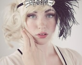 Deco Flapper Feather Headband Antique Silver Beading with Black, Silver Gray or Charcoal Gray Ostrich Feathers