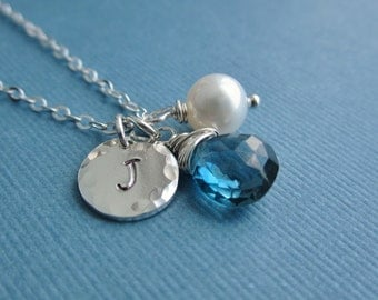 December birthstone necklace, custom silver initial necklace, custom birthstone, london blue topaz, freshwater pearl, personalized necklace