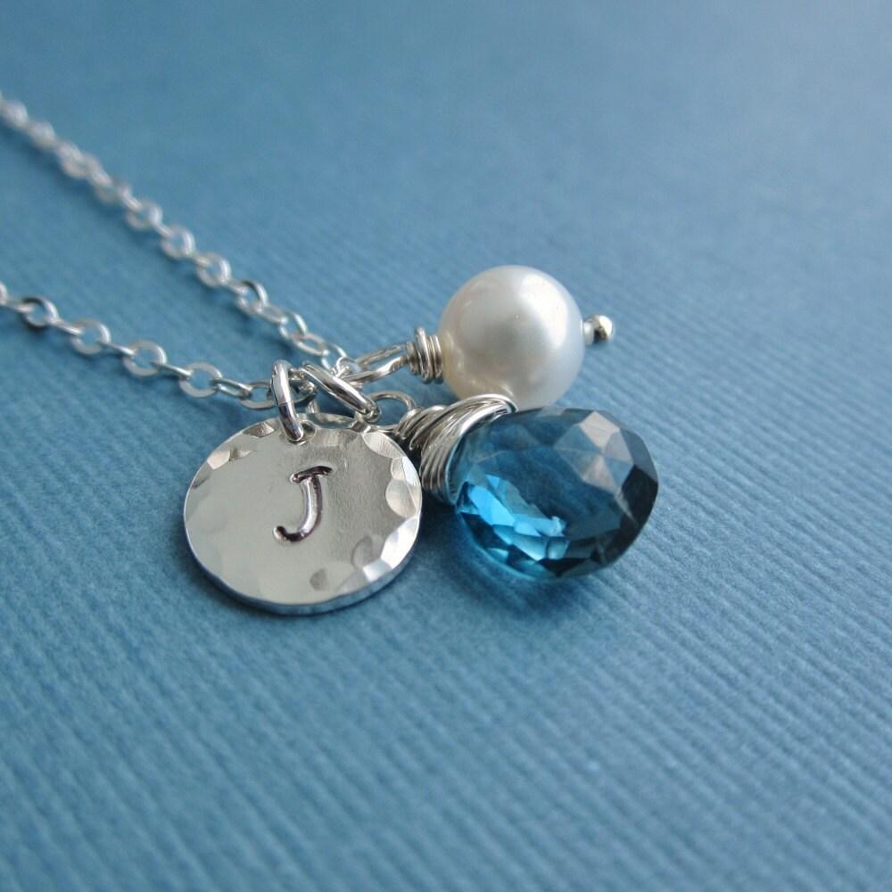 december birthstone necklace custom silver initial necklace. Black Bedroom Furniture Sets. Home Design Ideas