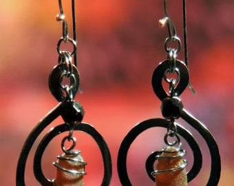 Hammered Copper Spiral Earrings with Umber Sea Glass and Garnet Faceted Czech Glass Beads