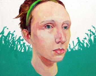 Jet City Woooman 2 - original portrait oil painting on canvas