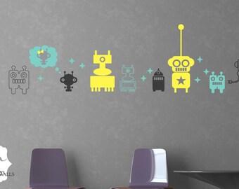 Robot Wall Sticker Decal - Vinyl Robots Childrens Bedroom Wall Decor - Vinyl Wall Art Sticker - CB116A