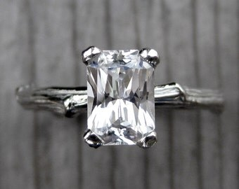 Emerald Cut White Sapphire Twig Engagement Ring: One Carat Radiant Cut