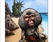 """Planet of the Humans- 11"""" x14"""" Planet of the Apes Parody- Whimsical Monkey Art Print"""