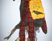 Primitive Old Winter Crow