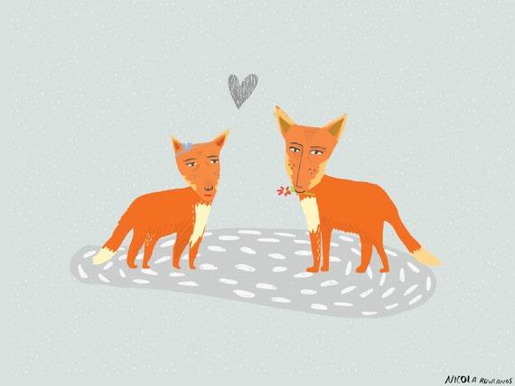 Fox Love Valentine anniversary boyfriend girlfriend wife husband Card cc89  SALE +++++