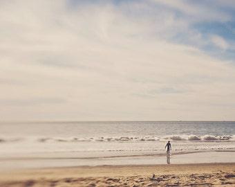 surfer photograph, photography, beach photo, ocean waves, boys room decor, for him, California beach, blue brown, surfing, coastal, sky