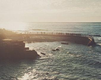 beach photography, photo of La Jolla, San Diego photograph, sunset landscape travel print, California decor, blue, ocean water Pacific coast