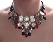 Gray Rhinestone Bib Necklace, Gray Necklace, Statement Necklace, Grey Bib Necklace, Jeweled Choker, Gothic Jewelry, Gothic Necklace