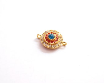 1pc Matte Gold Plated White, red and blue, Crystal Circle  Connector-20x14mm-(005-021GP)