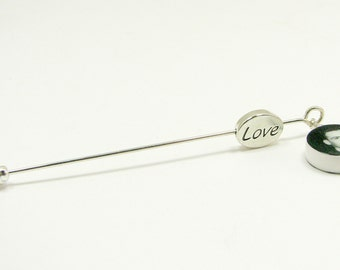 Boutonniere Photo Charm, Gift for Groom - Round Mini with Message Bead - BPC8a