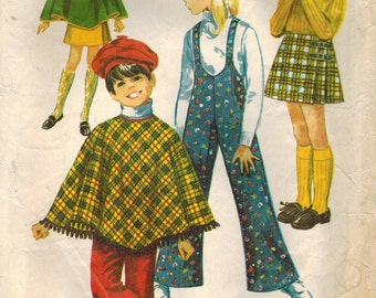 1960s Simplicity 8425 Vintage Sewing Pattern Girls Poncho, Skirt, Bell Bottom Suspender Pants Size 6