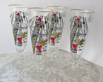 Vintage Four Pilsner Glasses Treasure Island Bar Mid Century Barware Pirates Ship Boat Nautilac Compass Black Red Yellow Beer Coastal Beach
