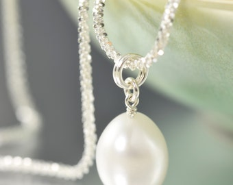 Valentine's Day gift gifts for her White Pearl necklace with sterling silver chain June Birthstone necklace