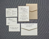 Vintage Wedding Invitation - Black and Champagne Gold Formal Pocket Invitation - Traditional, Classic, Formal - Custom - Cristin and Brian