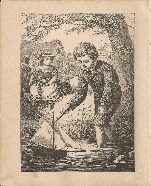 1880 Wood Engraving Sailboat Antique Childrens