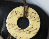 Stunning Music Note Sheet Music Upcycled Papers Hardware Washer Pendant Necklace