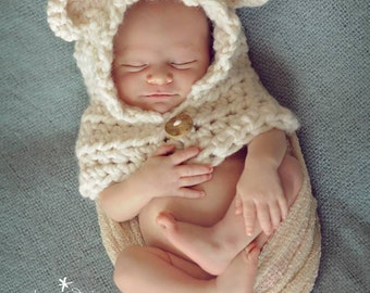 Newborn Baby Bear Hood, Baby Polar Bear Hood, Baby Bear Hat, Crochet Bear Hat, Newborn Photo Prop, Newborn Photography,  Size: Newborn