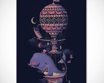 Whale Poster Print, Balloon Print, Mustache Print, Vintage Wall Decor Steampunk Poster, 18 x 24 Art Print