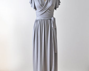 Reserved for Sharon Taupe Dress, Maxi Wrap Dress, Evening Dress, Bridesmaid Dress, Long Formal Prom Dress