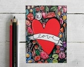 Love postcard, romantic holy heart illustration