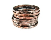 Copper Stack Rings Set of 7 - Seven Rings - Hammered - Sealed - Light Oxidation - Copper Jewelry - handmade in Austin, Tx