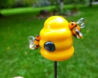 Fairy Garden accessory, small glass bee hive, miniatures for fairy garden, fairy garden supply, fairy garden, terrarium, dollhouse MTO