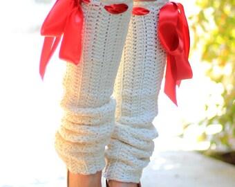 Leg Warmers - Ivory Crochet - Fashion Legwarmers