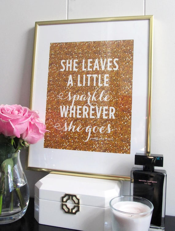 She leaves a little sparkle wherever she goes print art - Sparkle wall decor ...