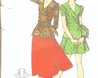 1970s - Vintage Sewing Patterns   - Wrap Top - Skirt - Dress - DIY - Hipster Fashion - 70s Clothing - Butterick 5870