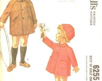1960s Vintage Sewing Pattern - Boys Coat - Girls Coat  Pattern - 1960s Winter Cap Pattern - McCalls 6255 - Size 2