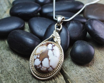 Magnesite & Sterling Silver Pendant with Leaf Detail