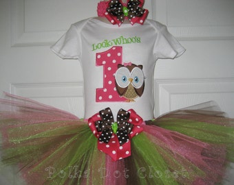 Boutique Look Whoos One owl First Birthday Tutu set