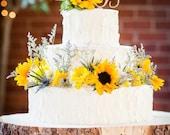 "12"" STUMP Rustic Wood Tree Slice Wedding Cake Base, Wooden Stand"