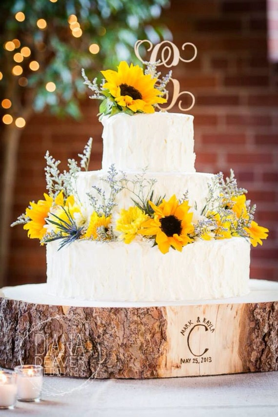 "12"" STUMP Rustic Wood Tree Slice Wedding Cake Base, Wooden Stand"