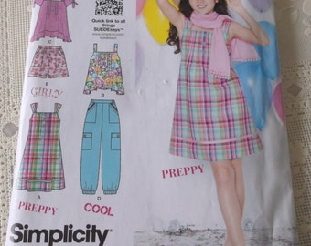 Summer Cool Girls' Plus Dress Pattern Girls Top,Pants,and Shorts, Simplicity 1817 Size Size 8 1/2 -16 1/2 UNCUT Pattern