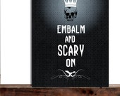 Spooky, Scary Skull with Crown, Bat, Halloween Decor, Sassy humorous Halloween Sign, Embalm and scary on, For him for her, Friendship Gift - IndigoRain