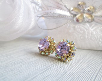 Swarovski Earrings Classic Rhinestone Earrings, Purple Lilac Lavender Stud Vintage Style, High Quality 14k Gold Plating, Genuine Rhinestones